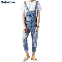 Sokotoo Men S Ankle Length Holes Slim Denim Bib Overalls Casual Ripped Jeans Blue Suspenders Jumpsuits