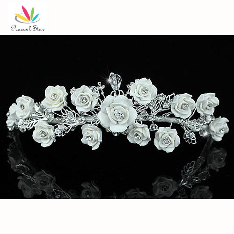 Peacock Star Bridesmaid Bridal Wedding Party Quality Handmade White Ceramic Rose Crystal Tiara CT1396