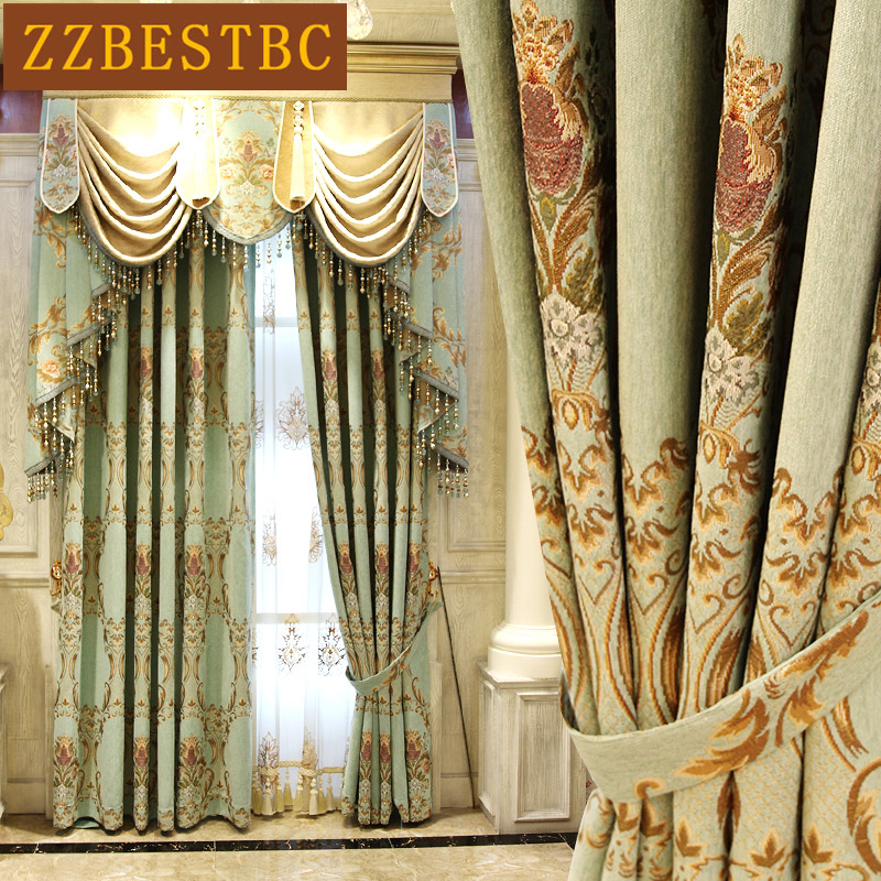 New Classical Customized Thickened Jacquard Shade Curtain for Bedroom Postmodern High Up Curtain Cloth for Living Room/Kitchen window valance