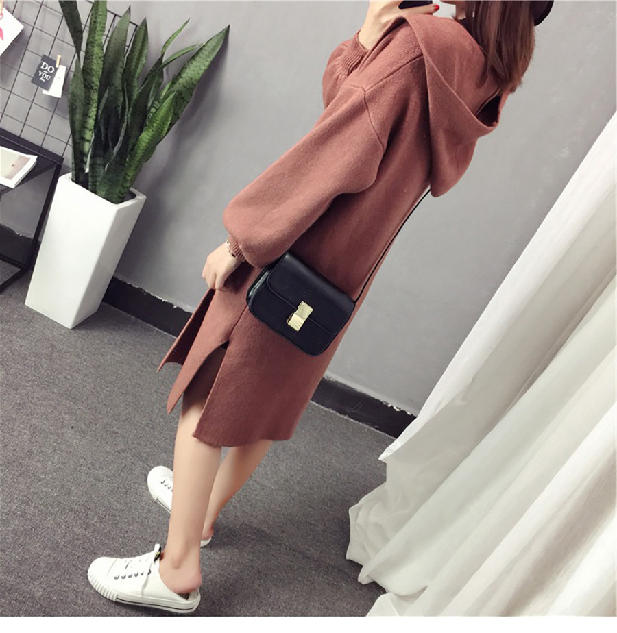 Autumn Winter Women Long Cardigans Hooded Sweaters Casual Knitted Outwear Puff Sleeves for Fashion Girls Female Warm Clothing (15)
