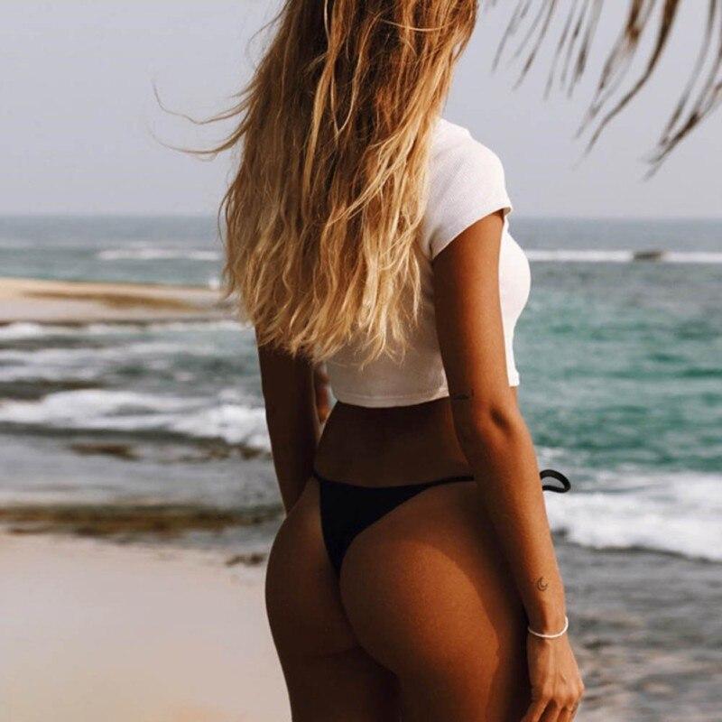HTB1rQR.QFXXXXXhapXXq6xXFXXXb - 2017 Summer Women's Short Sleeve Button Closure Female Beach Casual Crop Top White Shirt PTC 252