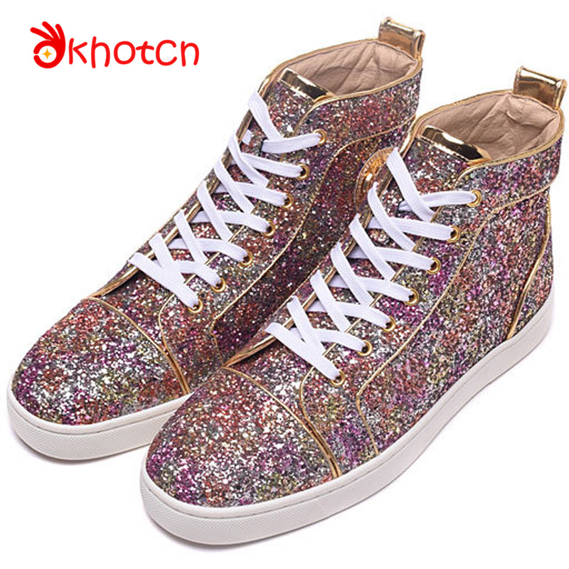 Zapatillas Mujer New Luxury Brand Glitter Men Shoes Squined Round Toe Lace-Up Comfortable Top Quality Casual Red Flats Bottom bimuduiyu lace up round toe casual shoes mixed colours breathable men flats luxury leather shoes comfortable big size 6 5 13