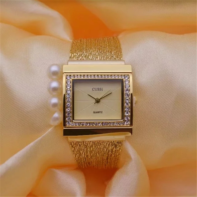CUSSI Fashion Womens Quartz Wristwatches 2017 Brand Luxury Ladies Bracelet Watches Dress Clock Square Generous Reloj Mujer Gift cussi 2018 gold women bracelet watches fashion ladies watches clock womens quartz wristwatches relogio feminino reloj mujer gift