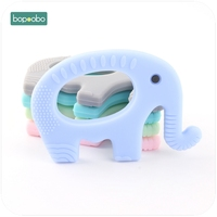 Bopoobo Baby Teether Silicone Cute Elephant 1pc BPA Free Teething Accessories Food Grade Jewelry Nursing Necklace Pendants