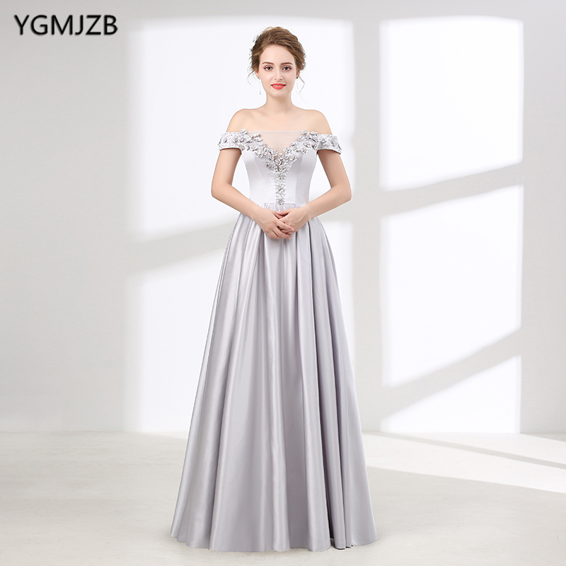 Weddings & Events A-line V-neck Crystal Beaded Pearls Long Formal Silver Evening Gowns Evening Dresses 2018 Prom Party Dress Vestido De Festa Nt19