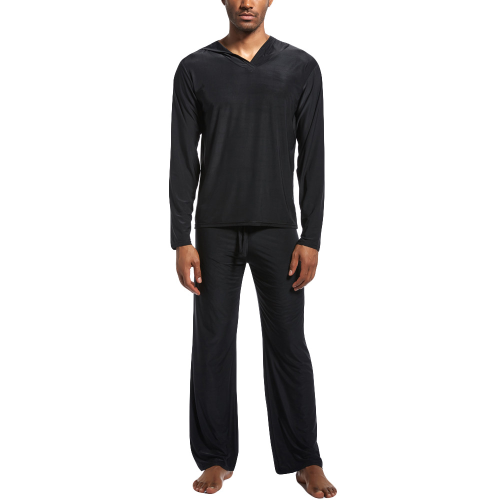New Men's Nightshirts Pajamas With Hooded Pure Colour Home Suit Soft Silk Fabric Yoga Men Sleepwear Suits With Caps Black