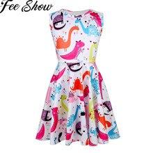 ee97b96e54a6e5 FEESHOW 2019 Mädchen Sommer Kleid Kinder Ärmellose Cartoon Dinosaurier  Gedruckt A-line Swing Nette Kleidung für Mädchen Casual P..