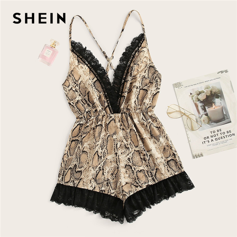 SHEIN Sexy Multicolor Crisscross Back Lace Detail Snakeskin Rompers Womens   Jumpsuit   Summer Deep V Neck Sleeveless Club Playsuit