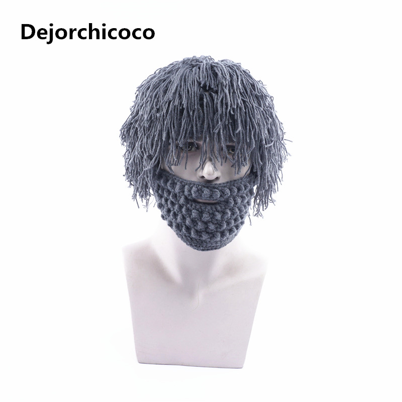 e8ede9cdbac Winter Novelty Wig Beard Hats Hobo Mad Scientist Rasta Caveman Knit Warm  Cap Men Women Christmas Gift Funny Party Mask Beanies