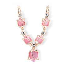 Hot Sale Fashion Women Choker Necklace Romantic Rose Gold Plated Created Pink/Beige Opals Rhinestone Tulips Necklaces Jewelry