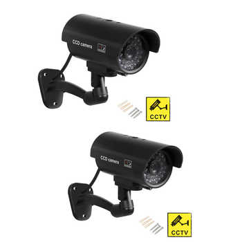 ZILNK 2pcs/lot Outdoor Fake Camera Bullet Home CCTV Surveillance Security Waterproof Dummy Camera With Flashing Red LED Black - DISCOUNT ITEM  19% OFF All Category