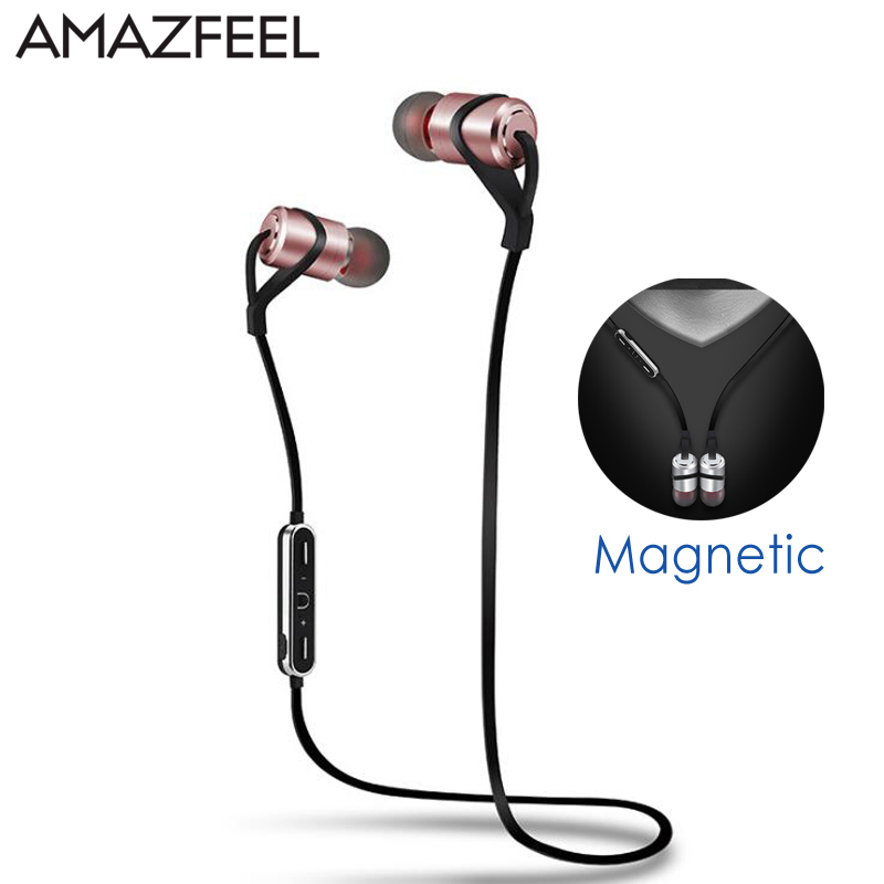 Sport Bluetooth Headphones Metal Magnetic Wireless Earphones Stereo Bass Headset HIFI Earbuds Handsfree With Mic for Samsung 100% original bluetooth headset wireless headphones with mic for blackview bv6000 earbuds