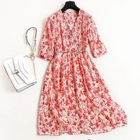 New Spring Summer 100 Real Silk Dress High Quality V Neck Print Silk Dress Elegant Classical
