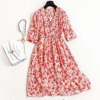 New Spring Summer 100 Real Silk Dress High Quality V Neck Print Silk Dress Elegant Classical