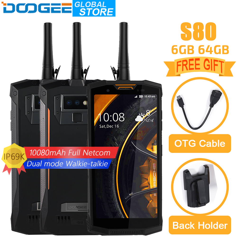 Doogee s80 telefone móvel ip68/ip69k walkie talkie carga sem fio nfc 10080 mah 12v2a 5.99 fhd helio p23 octa núcleo 6 gb 64 gb 16.0mp