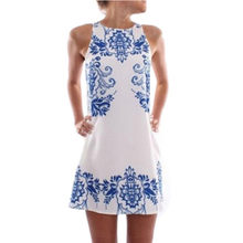 2018 Summer Fashion Women Sleeveless Vestidos Blue and White Porcelain Print Chic Mini Dress Casual A-line Dresses(China)