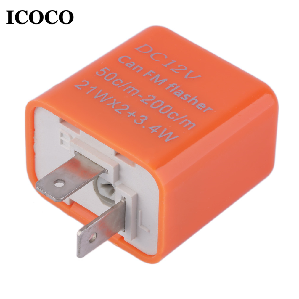 ICOCO 2 Pin Universal Speed Adjustable LED Flasher Relay Motorcycle Turn Signal Indicator Easy To Install Indicator Orange Sale