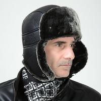 High Quality PU Leather Faux Rabbit Fur Bomber Hat Mens Fashion Winter Earflap Trapper Hat Russian Snow Cap Gorras Chapeu