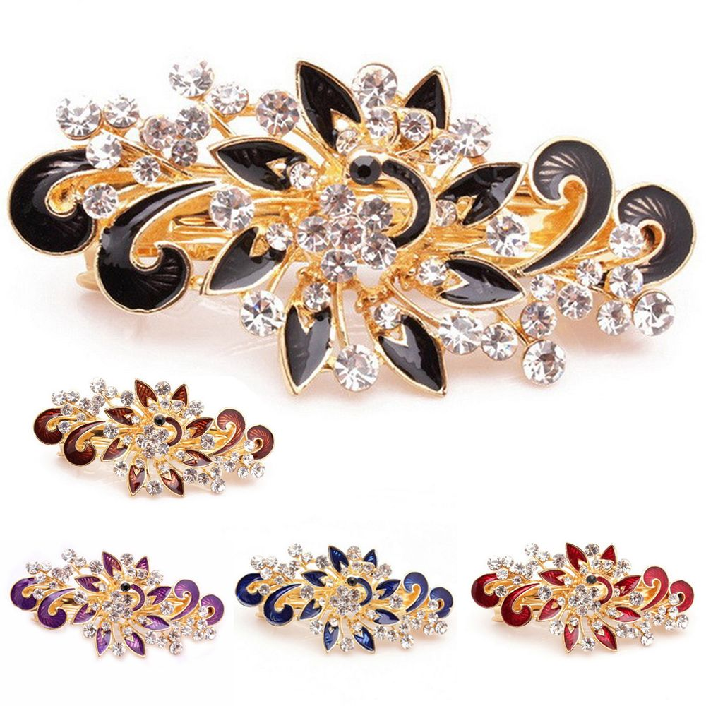 1PC Colorful Fashion Peacock Hairpin Women Girl Cute Shinning Crystal Rhinestones Peacock Hairpin Hair Clip Hair Accessories