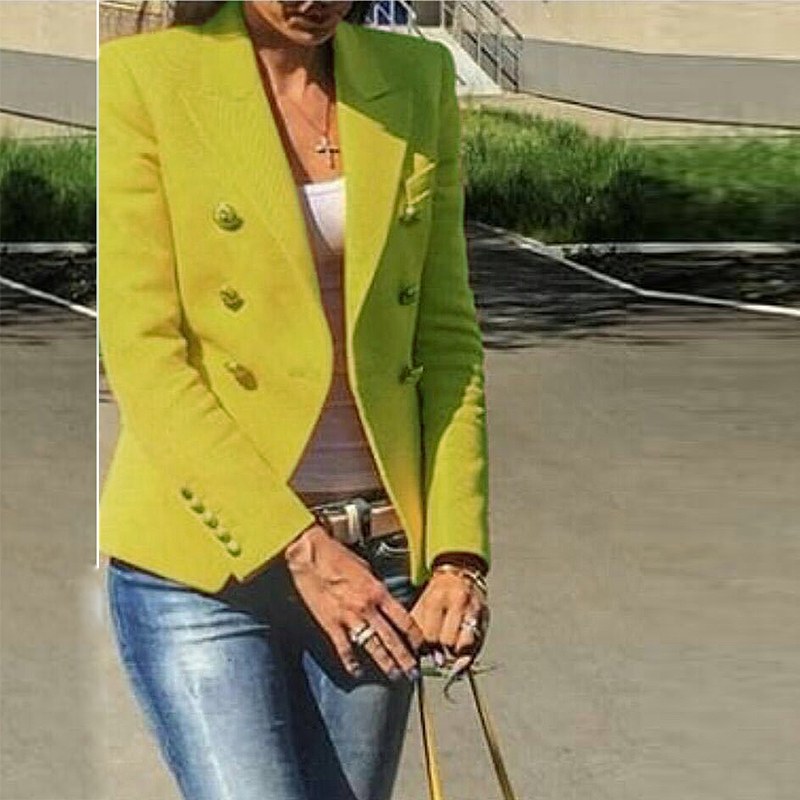 HIGH STREET New Fashion 2019 Designer Blazer Jacket Women s Metal Lion Buttons Double Breasted Blazer