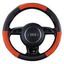 Kkysyelva 38 см Авто рулевого колеса черный автомобиль Стилизация кожаный чехол на руль Чехлы на руль автомобиля Аксессуары для интерьера