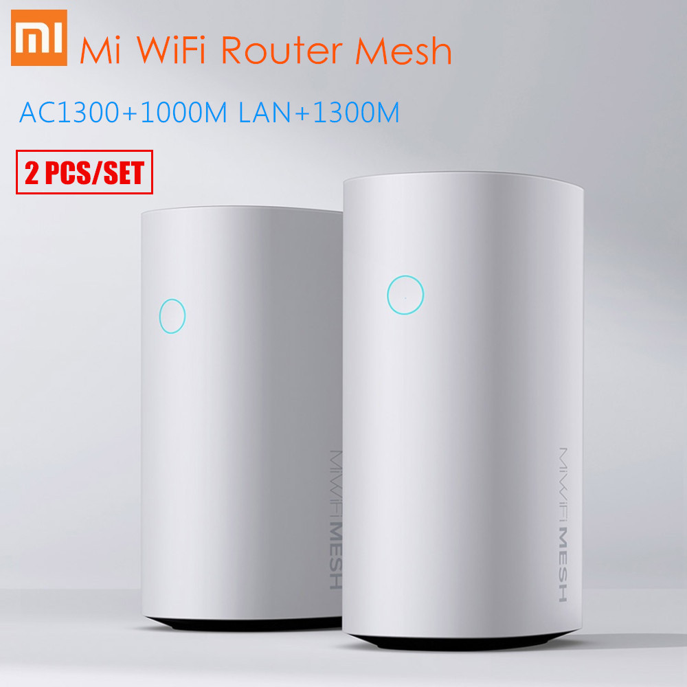 2 pièces Xiao mi WiFi routeur maille 2.4 + 5GHz routeur WiFi intelligent AC1300 + 1000M LAN + 1300M Qualcomm 4 Core 4 amplificateurs de Signal