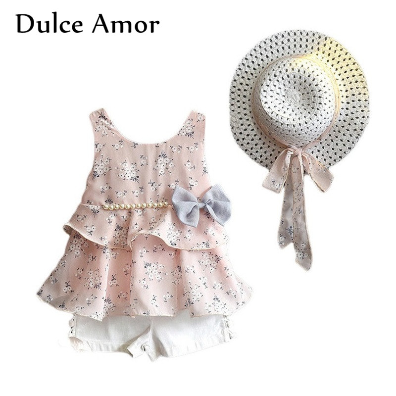Dulce Amor Girls Clothes Set Kid Dress Sundress 3 PCS/Set Spring Summer Sleeveless Print Floral With Pearl Dress +Shorts +Hat