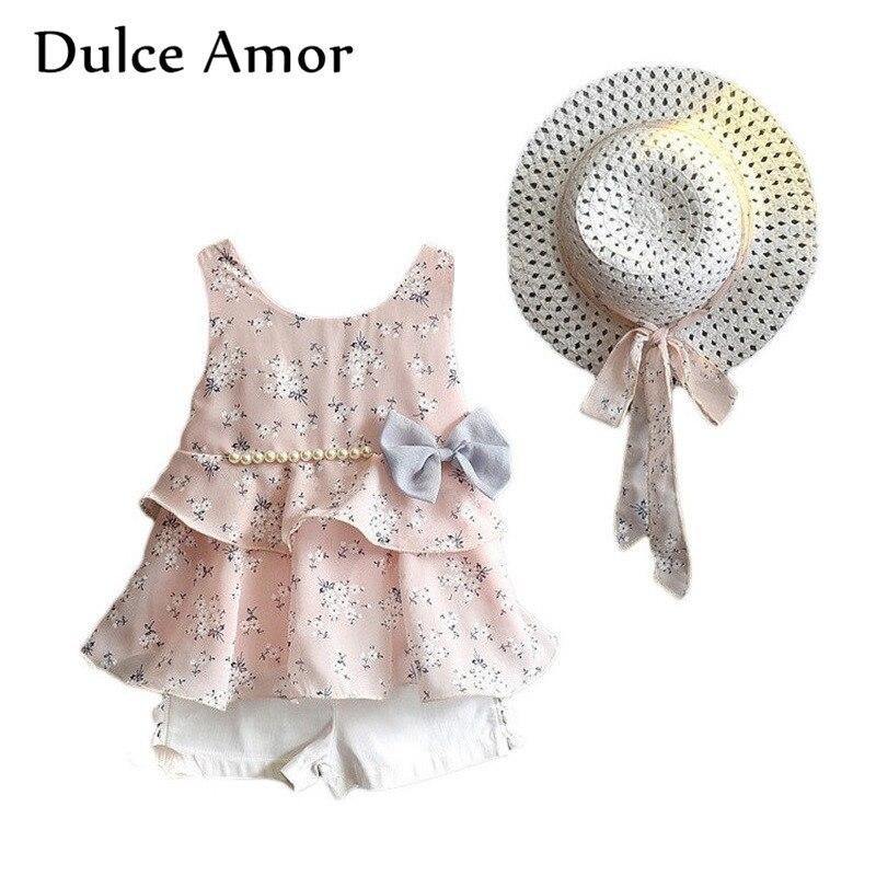 Dulce Amor Girls Clothes Set Kid Dress Sundress 3 PCS/Set Spring Summer Sleeveless Print Floral With Pearl Dress +Shorts +Hat
