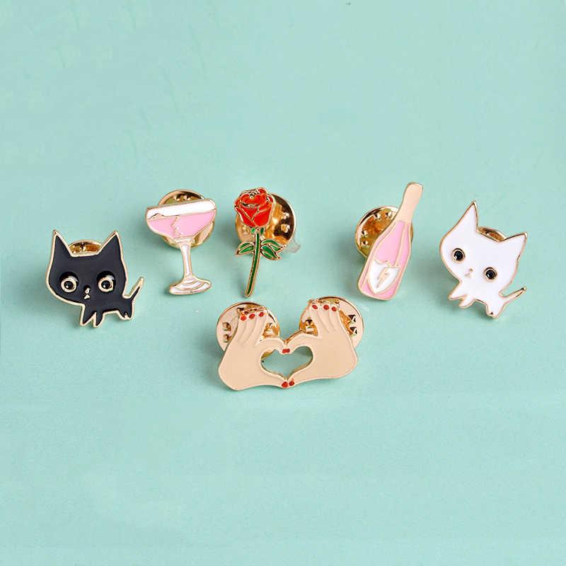 Kartun Lembut Enamel Pin Kucing Kecil Mawar Botol Anggur Wineglass Jantung Bros Denim Pakaian Pin Fashion Perhiasan untuk Anak-anak