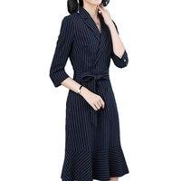 2018 Autumn dress new women's clothes fashionable sexy trend han edition temperament stripe lashing waist dress STPRRES