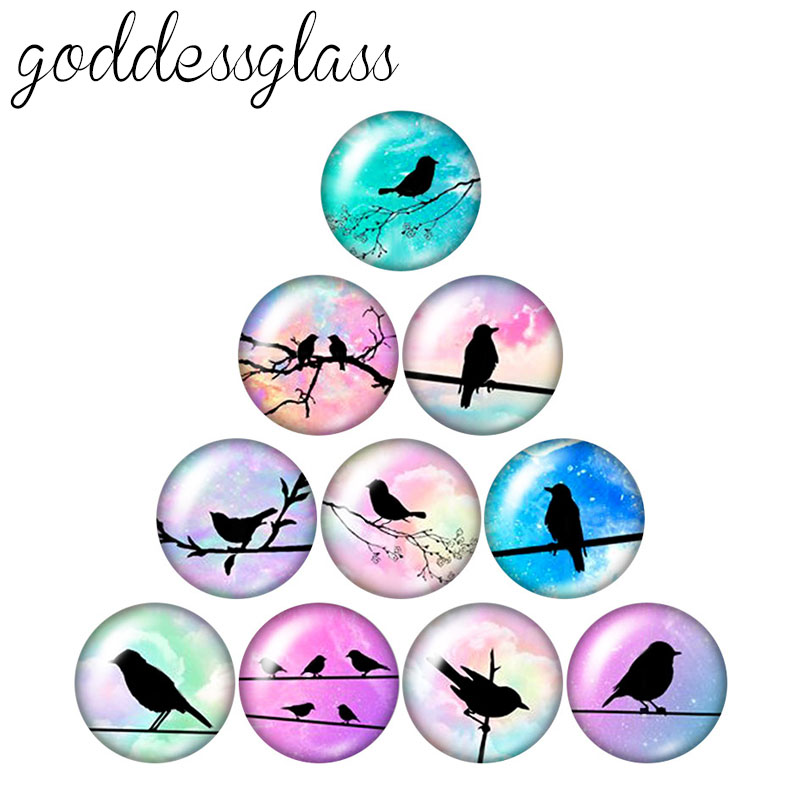 New Lovely Birds Flamingo Magpie 10pcs 12mm/18mm/20mm/25mm Round Photo Glass Cabochon Demo Flat Back Making Findings