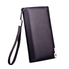 Luxury Zipper Men Wallets Genuine Leather Long Purses Brand Soft Mens Clutch Wallet Bifold Male Money Bag Multi-Card Slot