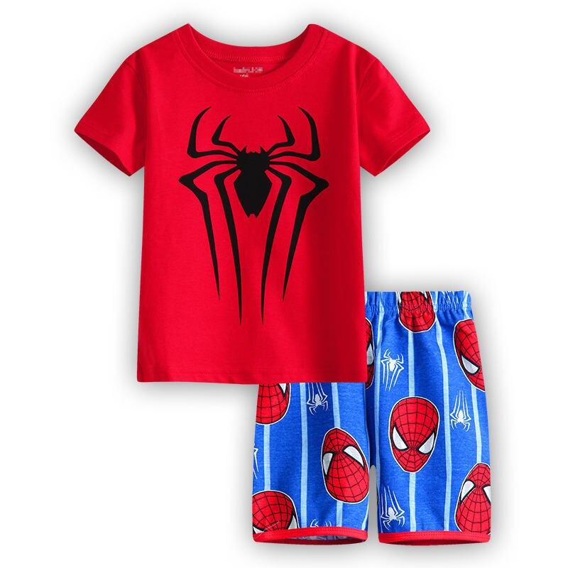 3 Kids Boys Girls Pajamas Cartoon Spider-Man Set Baby Sleepwear Cotton Superhero Costumes Shorts + Short Sleeve Tees Baby Clothing