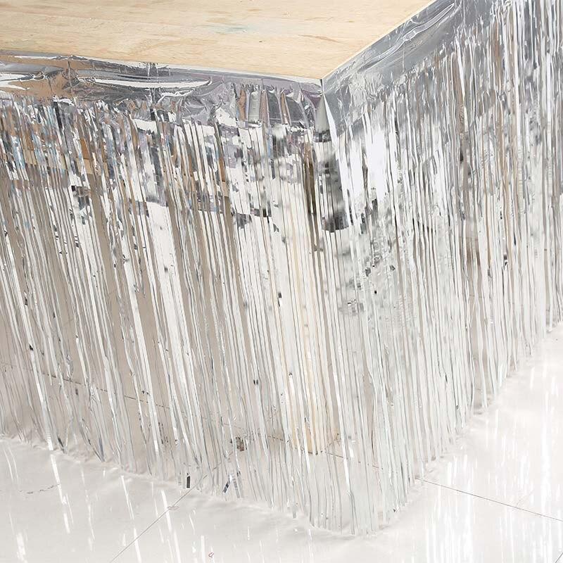 Юбка для стола Золото Серебро мишура Шторы Свадебные Юбилей Рождество для детей и взрослых День рождения Baby Shower новый год Украшение стола