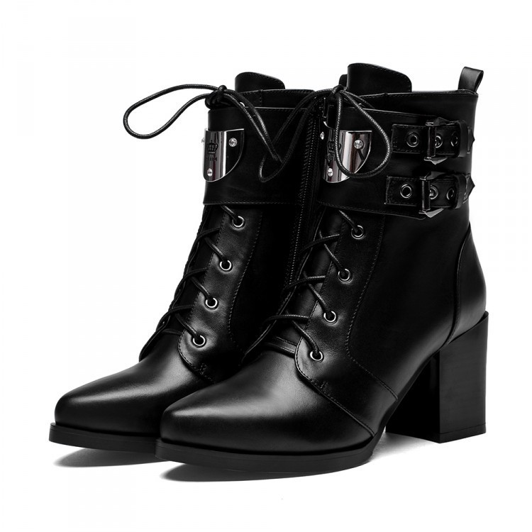 Women Autumn Winter Genuine Leather Thick High Heel Pointed Toe Lace Up Buckle Fashion Ankle Martin Boots Size 33-40 SXQ0902 women spring autumn thick mid heel genuine leather round toe 2015 new arrival fashion martin ankle boots size 34 40 sxq0902