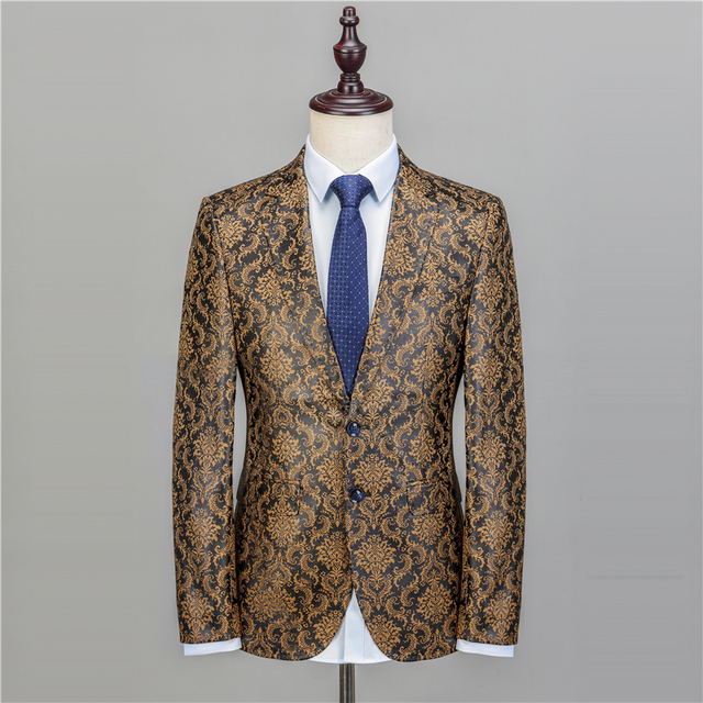 NA47 Gold Blazer Men Floral Casual Slim Blazers 2017 New Arrival Fashion Party Single Breasted Men Suit Jacket Plus Size M-6XL