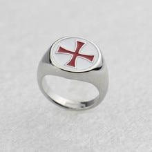 Новинка, кольцо с красной эмалью, геймер, рыцари, Тамплиер, Серебряные вечерние кольца, модные ювелирные изделия, нержавеющая сталь, крест, заказное кольцо ассасина, мужской подарок