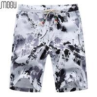 MOGU Beach Shorts Men 2017 Summer New Arrival Fashion Floral Elastic Waist Casual Shorts For Men