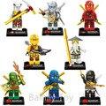 8 unids/lote Compatible Legoes Ninjagoes Con Armas Ninjas Lloyd Cole Jay Kai Zane Nya Bloques de Construcción Para Niños Juguete de Regalo