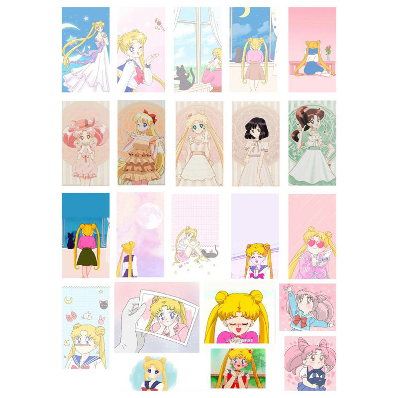 2 PCS Kawaii Sailor Moon Girls DIY Uncut Decoration Scrapbook Stationery Diary Sticker Planner Cute Label Travel Stickers