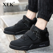 XEK Men Fashion Shoes Winter Casual Breathable High Top Shoes Flat Wedge Rubber Sole Leather Vulcanized shoes ZLL164