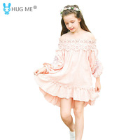 Pink Lace Princess Dress 5 6 7 8 9 10 11 12 13 14 Year Old Girl Kids Fall Long Sleeve Party Dresses for Teenagers 100% Cotton