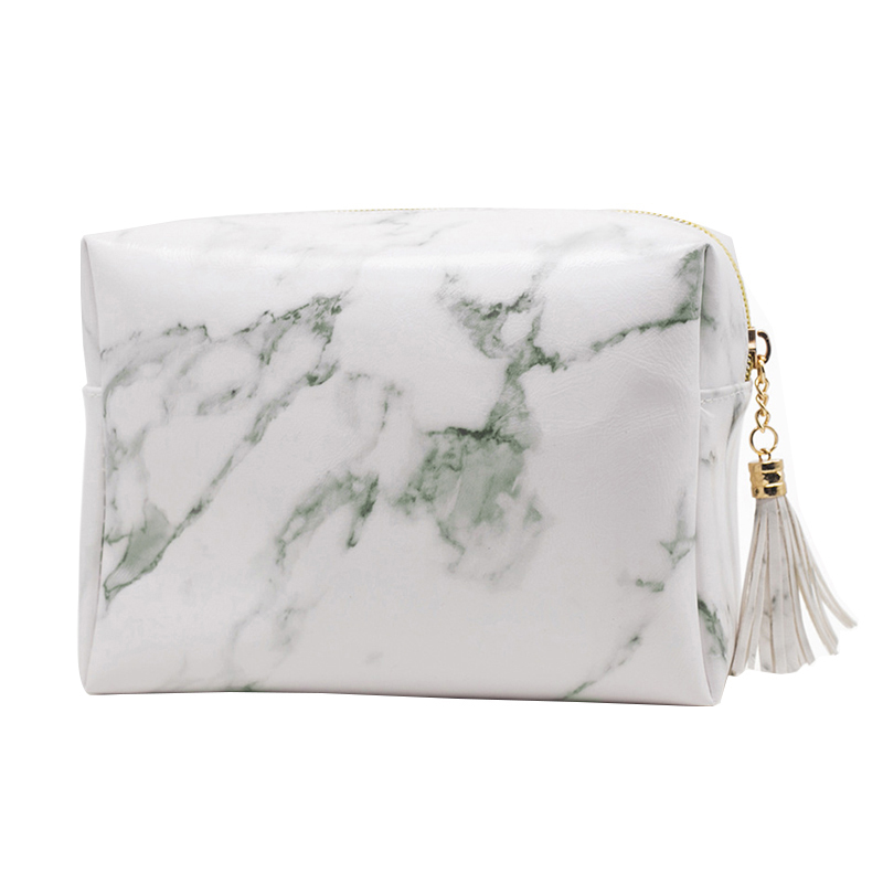 White Marble Texture Cosmetic Bag PU Leather Girl Travel Makeup Case Women Fashion Brushes Kit Pouch Gear Accessories Supplies
