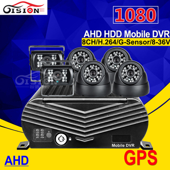 AHD 1080 GPS HDD Hard Disk 8CH Mobile Dvr Kits With 6PCS Night Vision IR HD 2.0MP Camera Motion Detection I/O Playback MDVR