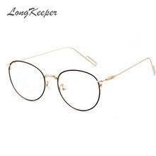 LongKeeper Armações De Óculos De Metal Mulheres Clássico Optical Óculos  Redondos Grande Quadro Lente Clara Óculos de Leitura P18. aae65360b1