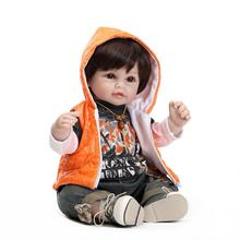 Reborn Silicone Boy Doll 55cm 22inch With Very Cool Jacket And Trousers NPK Brand Hot Sell Boy Bonecas Silicone New Boy Gifts