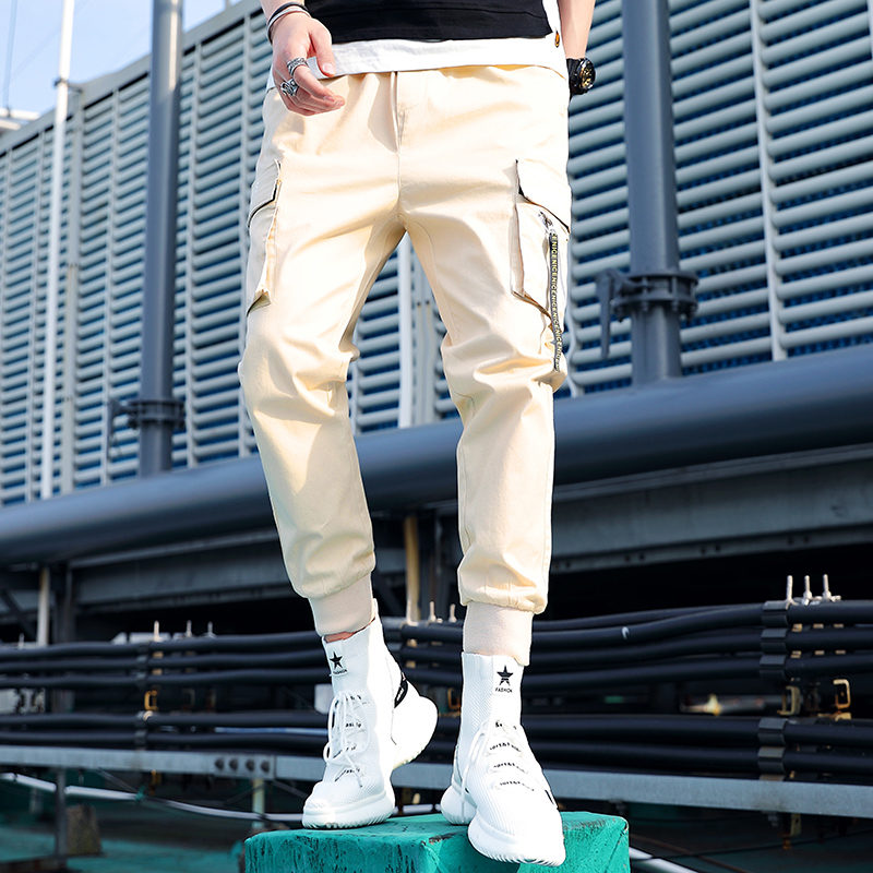 2019 Spring Summer Pants Men Multi-pocket Cargo Pants Elastic Waist Harem Pant Hip Hop Casual Loose Joggers Male