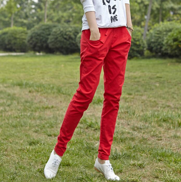 New women harem pants female candy color cotton linen pants capris s488