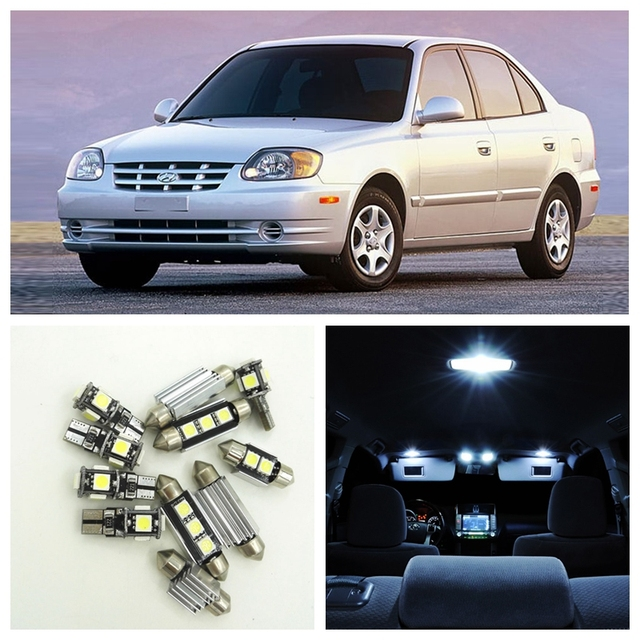 10pcs White Car LED Light Bulbs Interior Package Kit For 2000 2005     10pcs White Car LED Light Bulbs Interior Package Kit For 2000 2005 Hyundai  Accent Map