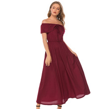 Sexy Big Swing MAXI Dress Short-sleeved Bandage Shawl Bow Tie Wine Red Tube Top Evening Party Female Robe De Soiree
